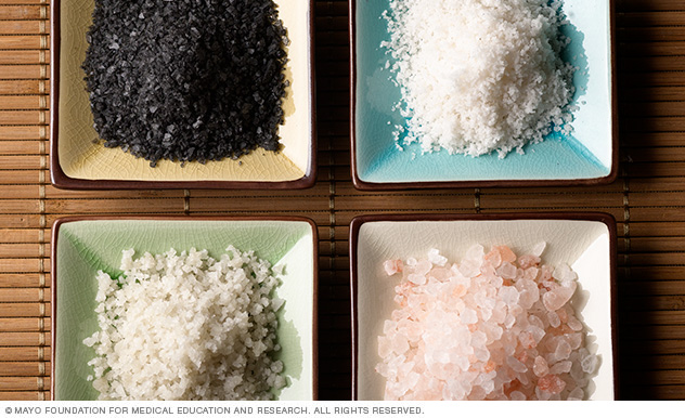Black, white, gray and pink sea salt